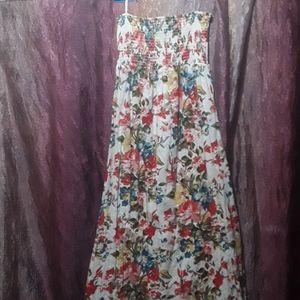 Forever 21 Eyelet Floral Tube Maxi Dress